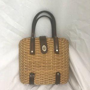 Vintage 1960s  Brown Leather Basket Handbag Purse